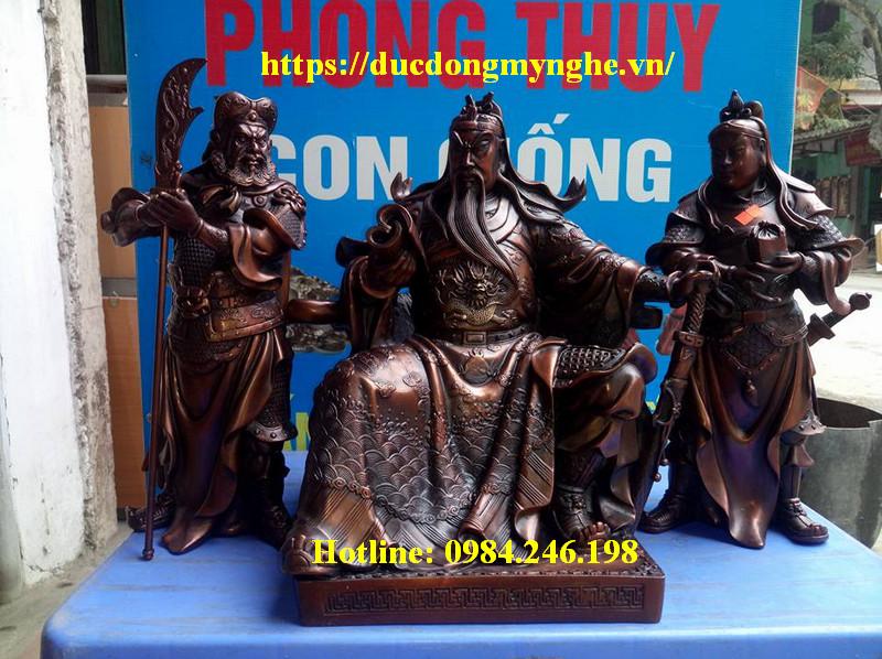 tượng đồng tam thánh hun màu giả cổ