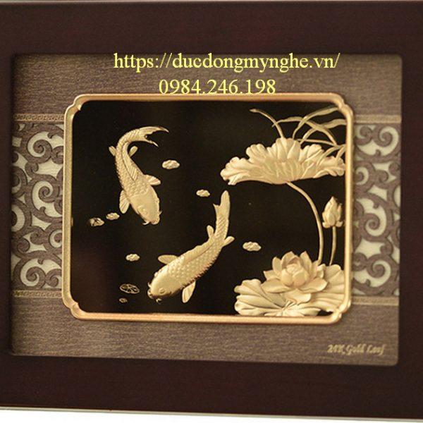 tranh cá chép mạ vàng
