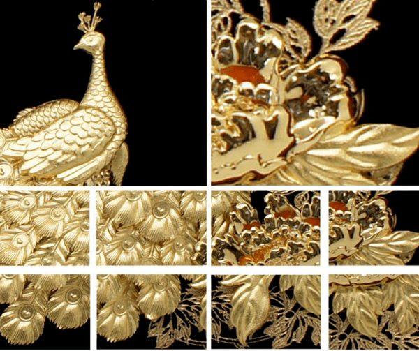 tranh chim công phú quý mãn đường mạ vàng 24k