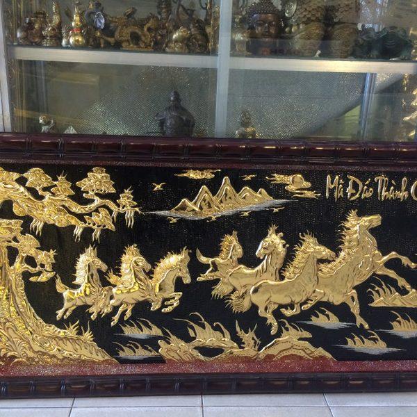tranh đồng bát mã mạ vàng