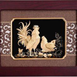 Tranh gà phong thủy mạ vàng