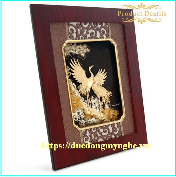 tranh đồng tùng hạc diên niên mạ vàng
