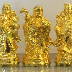 tượng đồng phúc lộc thọ mạ vàng