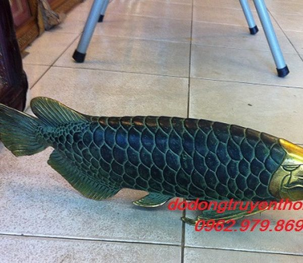 tượng cá ngân long bằng đồng