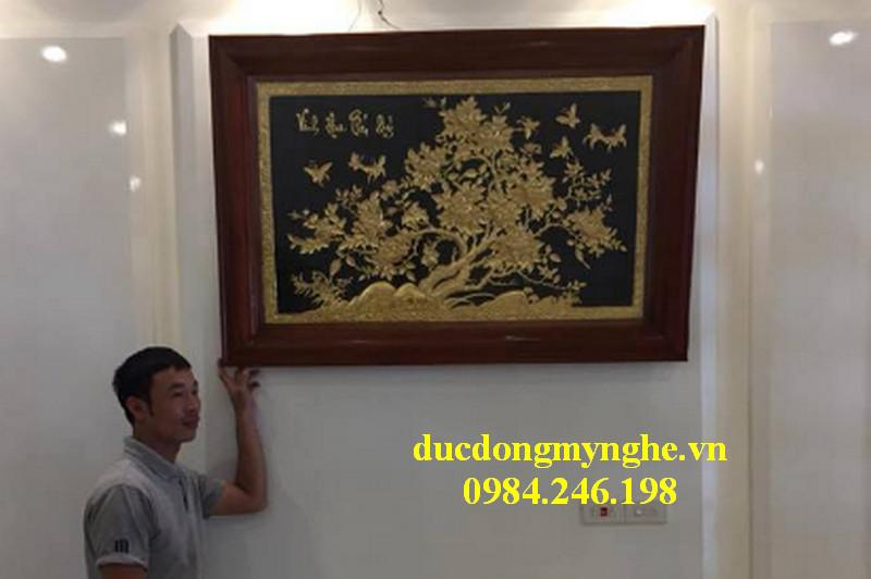 bày trí tranh vinh hoa phú quý dát vàng